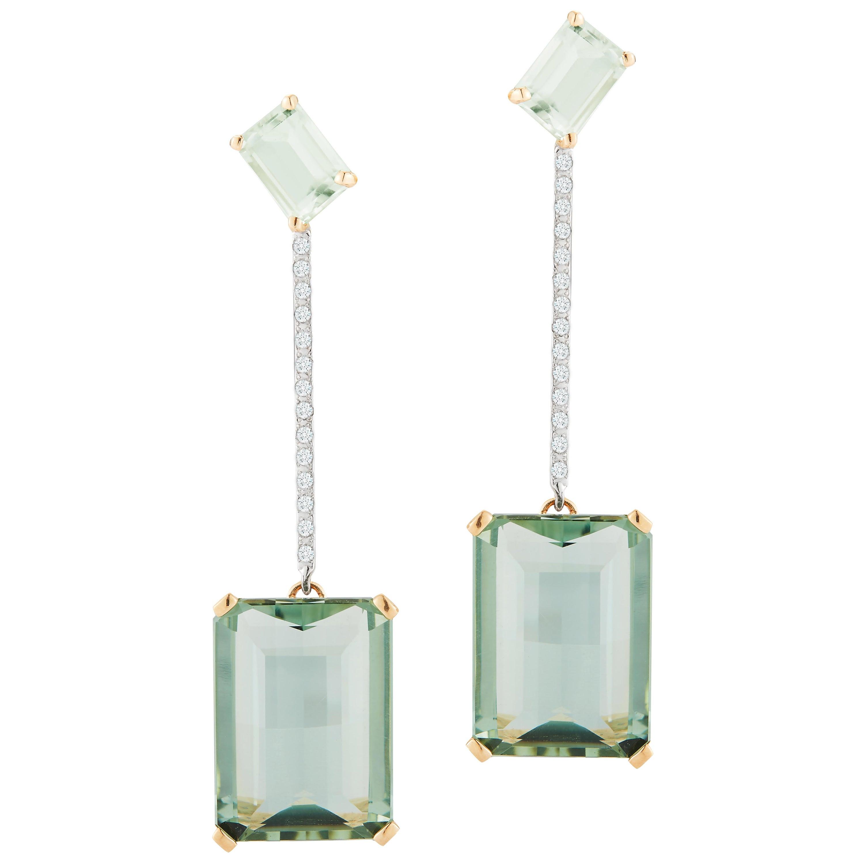 14 Karat Gold Mint Green Earring