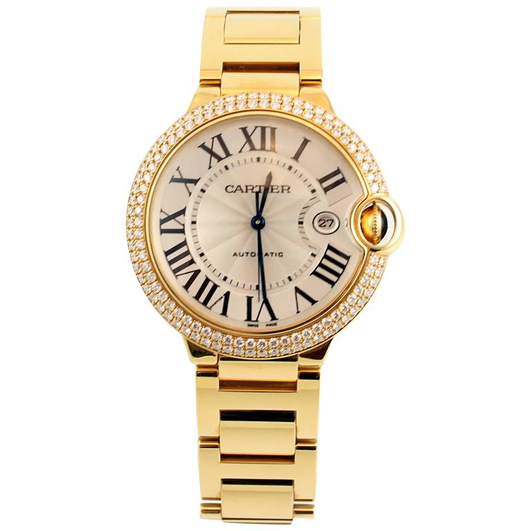 Yellow Gold Diamond Ballon Bleu De Cartier Bracelet Watch 1