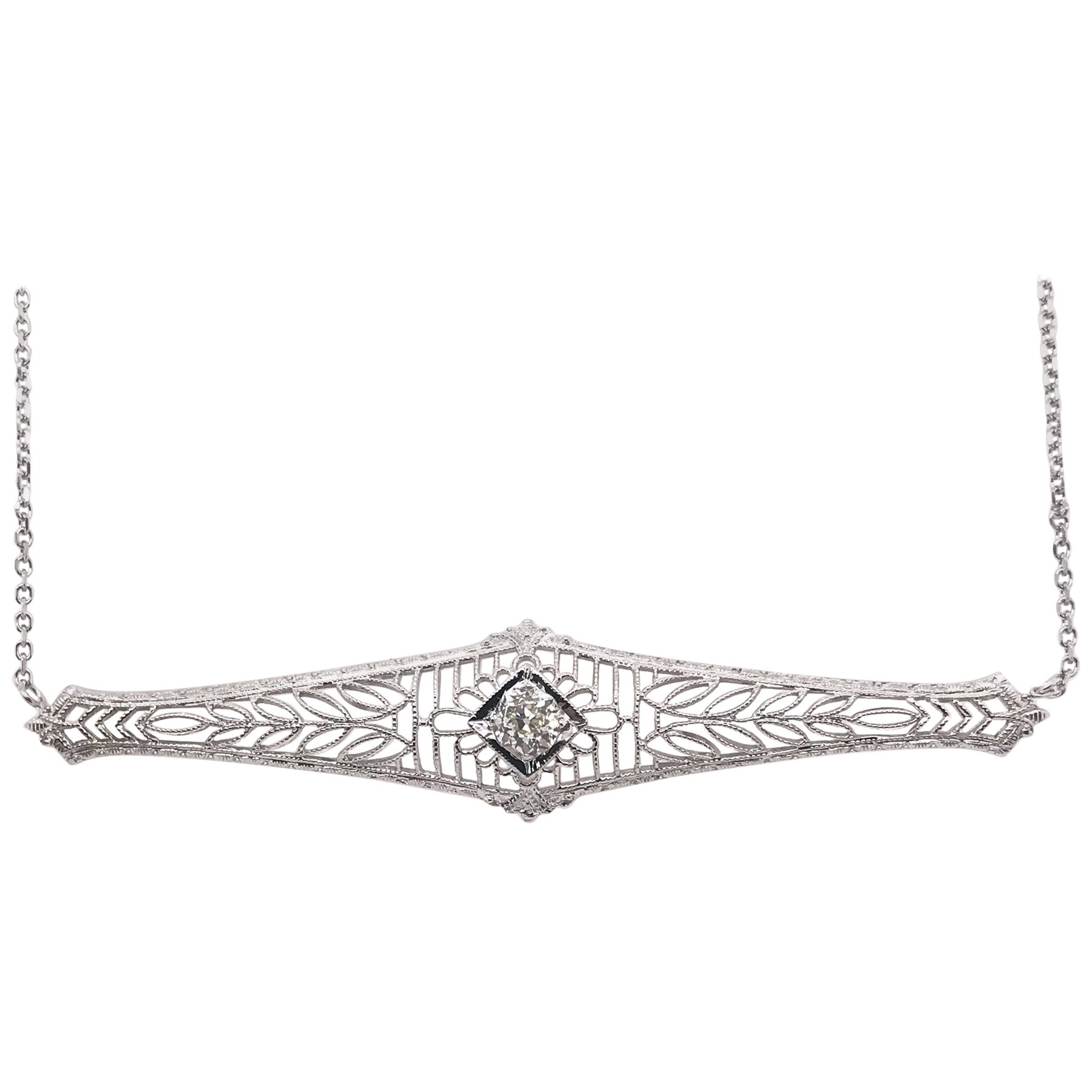 Antique 0.25 Carat Old Mine Cut Diamond Necklace