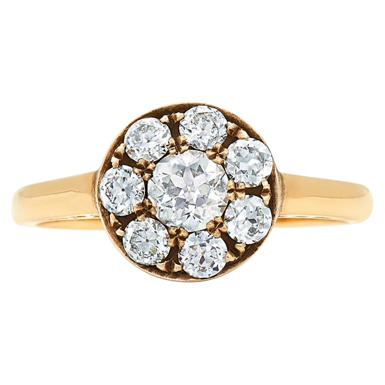 Old European Cut Diamond Petite Cluster Ring Signed Fred Leighton