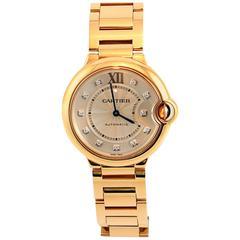 New Pink Gold Ballon Bleu De Cartier Bracelet Watch with Diamond Markers
