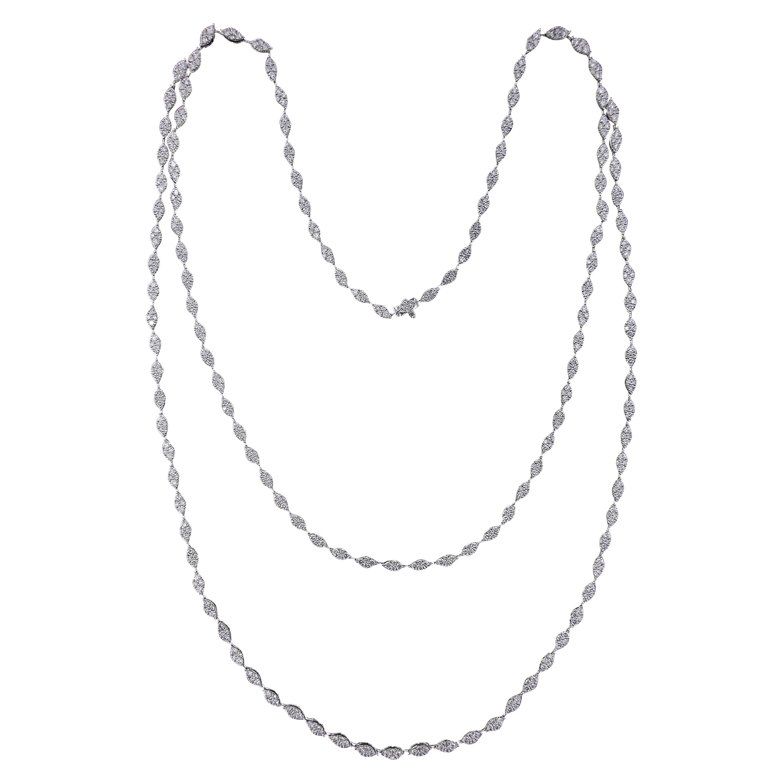 Classic 18 Karat White Gold and Diamond Necklace
