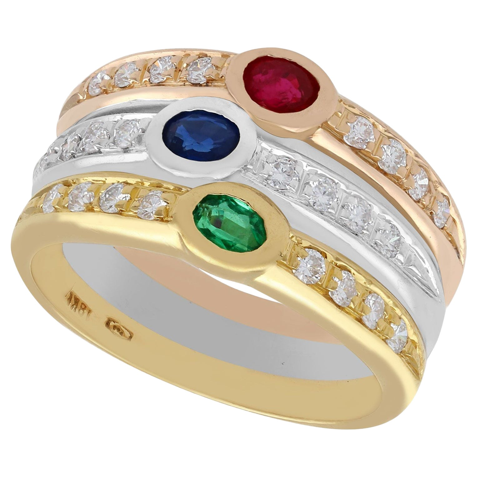 1970s Ruby Sapphire Emerald and Diamond Cocktail Ring