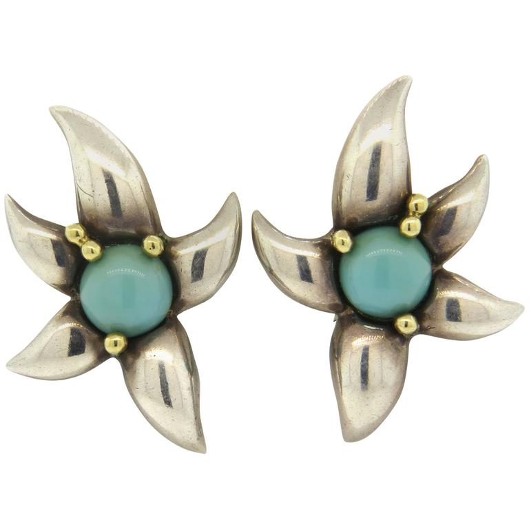 1990s Tiffany & Co. Large Turquoise Sterling Gold Earrings