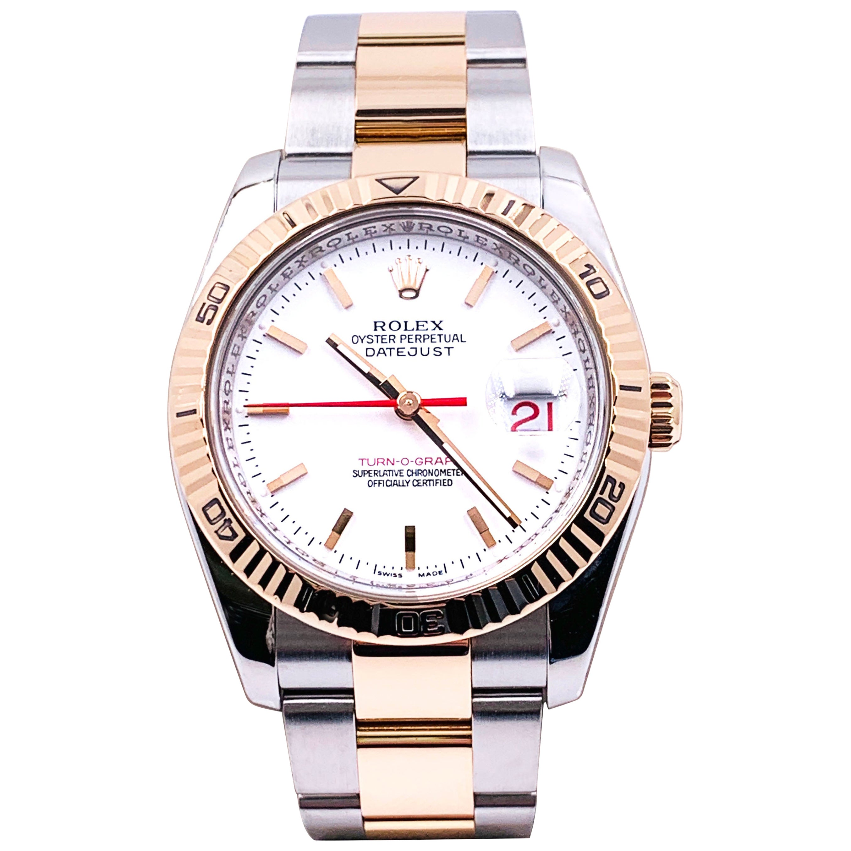 Rolex Datejust Turnograph 116261 White Dial 18K Rose Gold Stainless Box Papers