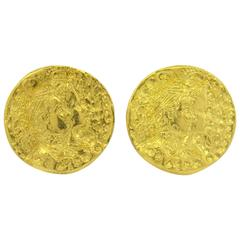 Rare Salvador Dali Gold Disc Coin Earrings