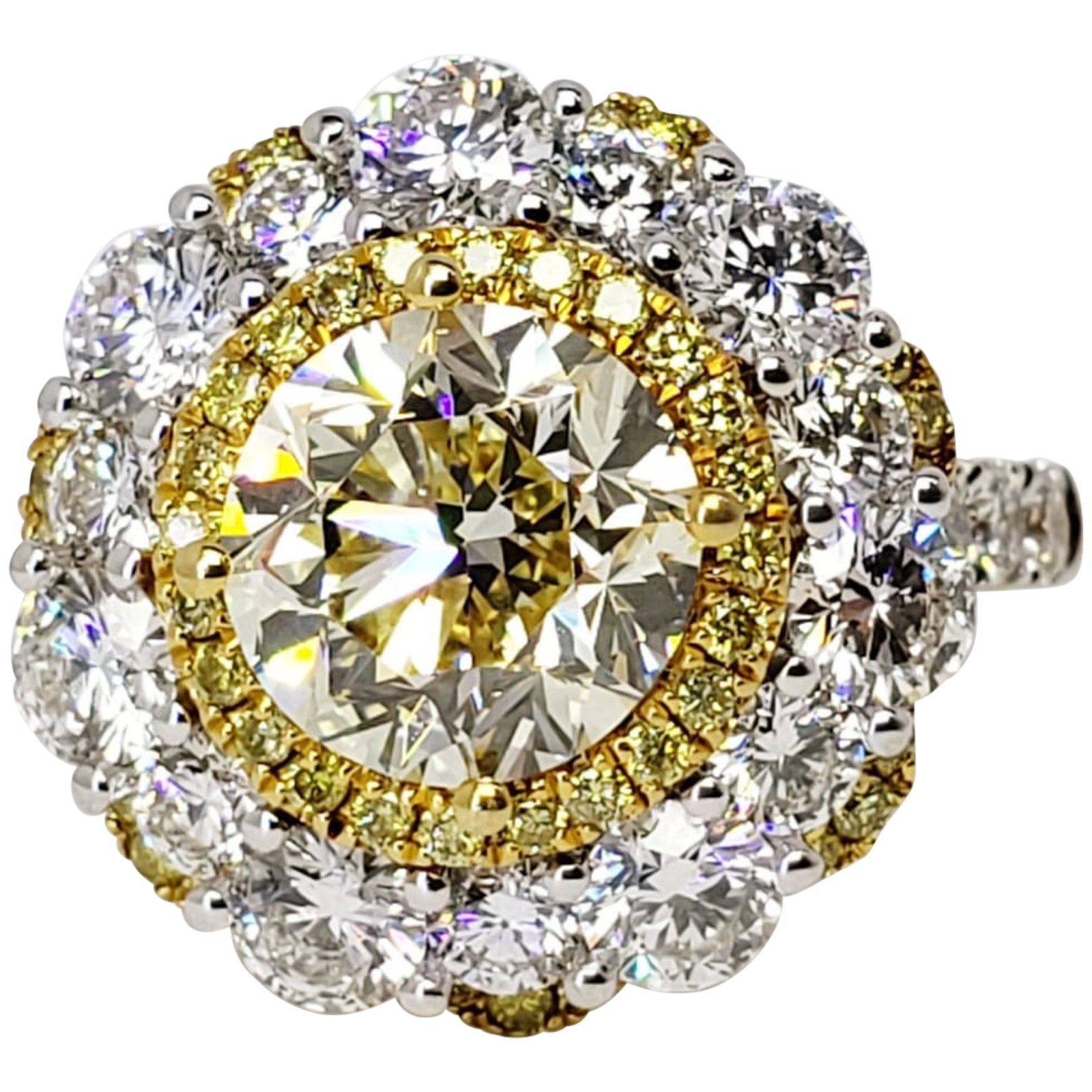 David Rosenberg 2.56 Carat Round Fancy Light Yellow VVS1 GIA Diamond Ring
