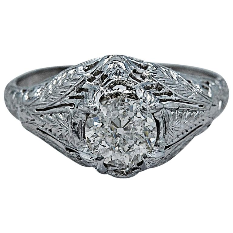 Stunning Art Deco .68 Carat Diamond Platinum Engagement Ring