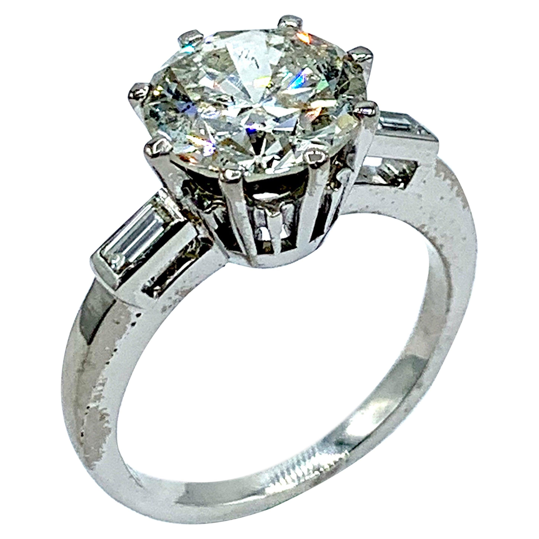 Retro 3.58 Carat Round Brilliant Diamond Platinum Engagement Ring