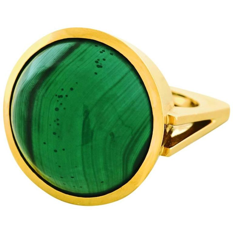 Modernist Malachite Gold Ring  1