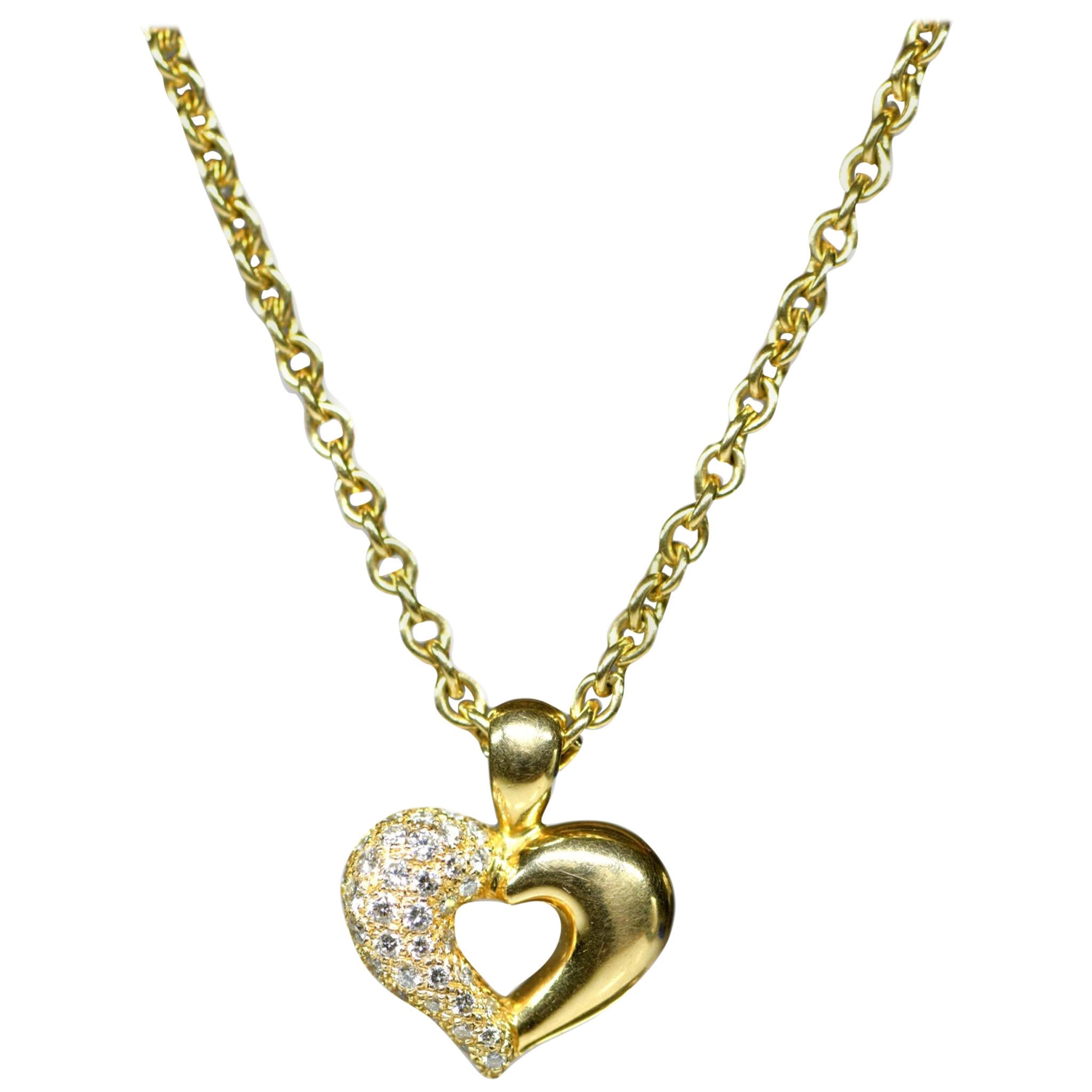 Van Cleef & Arpels 18 Karat Yellow Gold Diamond Heart Pendant Necklace