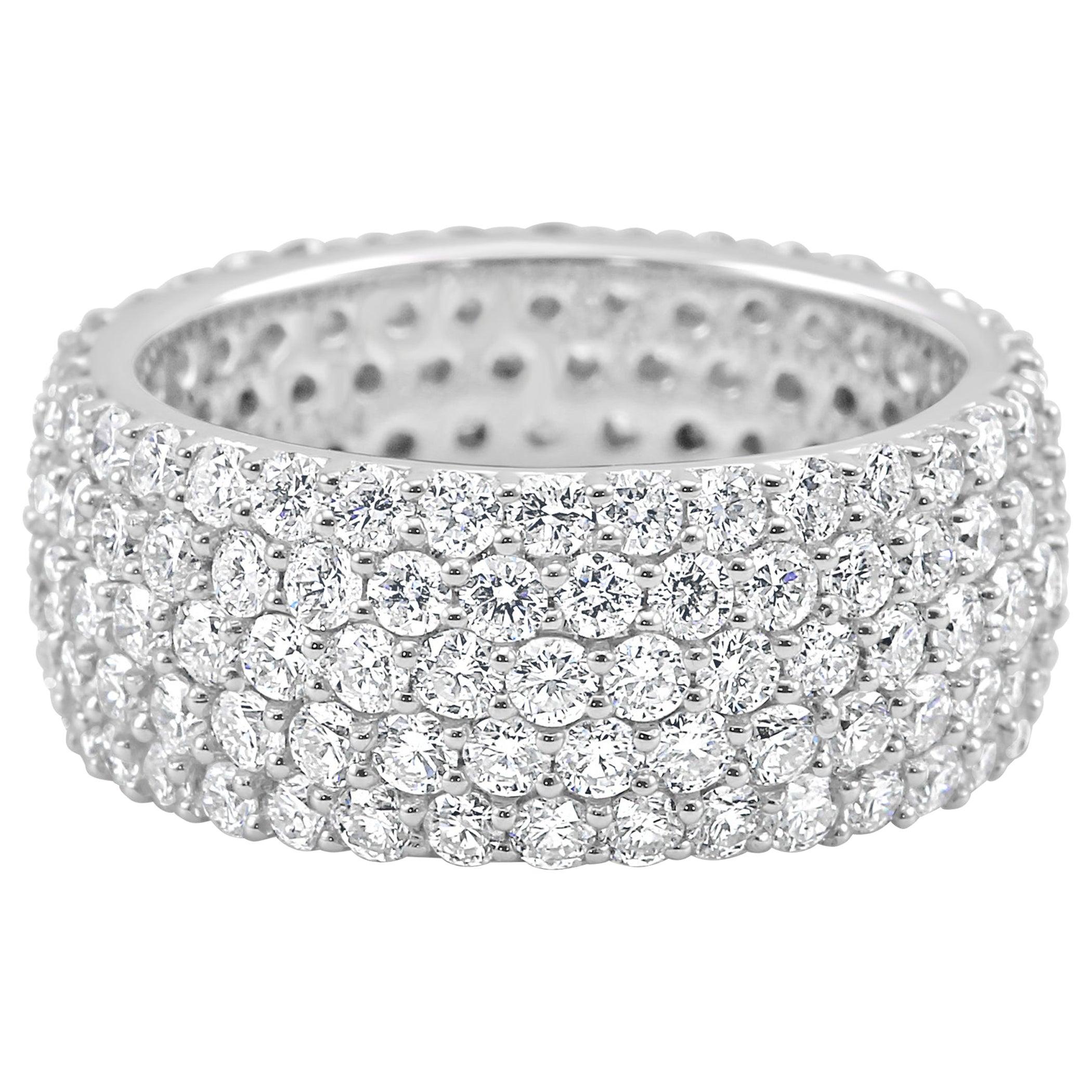5-Row White Round Diamond 18K Gold Dome Fashion Cocktail Eternity Band Ring