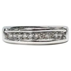 Gentleman's 14 Karat White Gold Channel-Set Diamond Ring