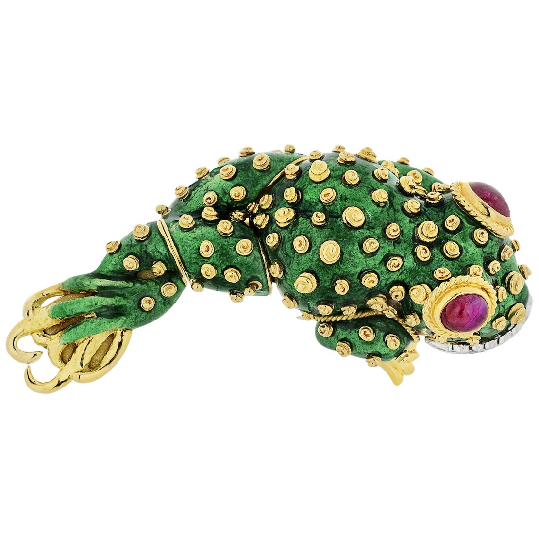 David Webb Tadpole Platinum and 18 Karat Yellow Gold Green Enamel Frog Brooch