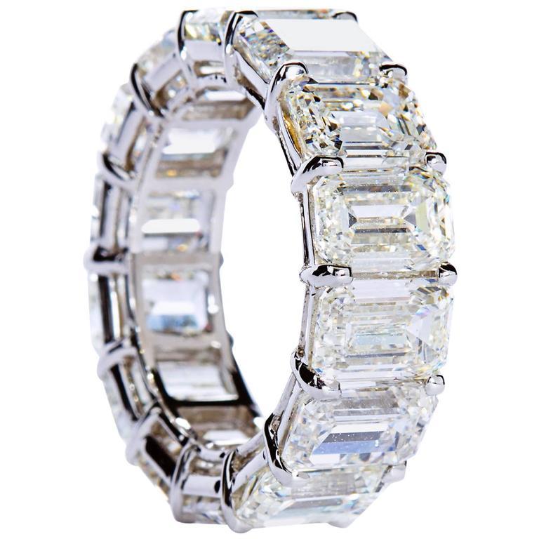 emerald cut platinum eternity band ring at 1stdibs