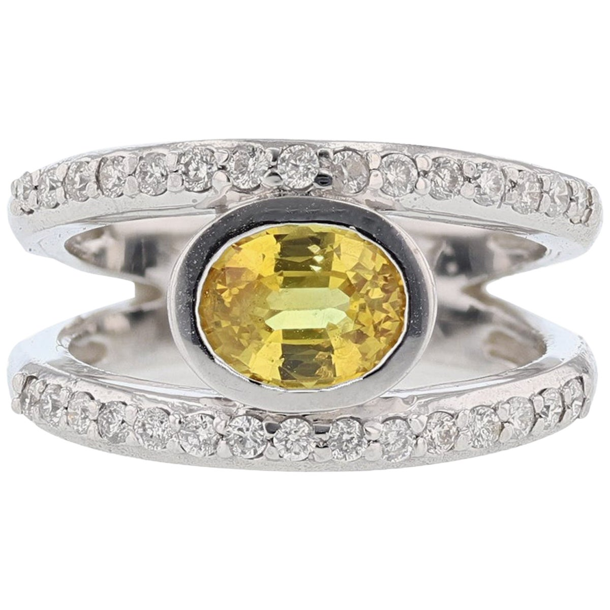 14 Karat White Gold 1.79 Carat Oval Yellow Sapphire Diamond Ring