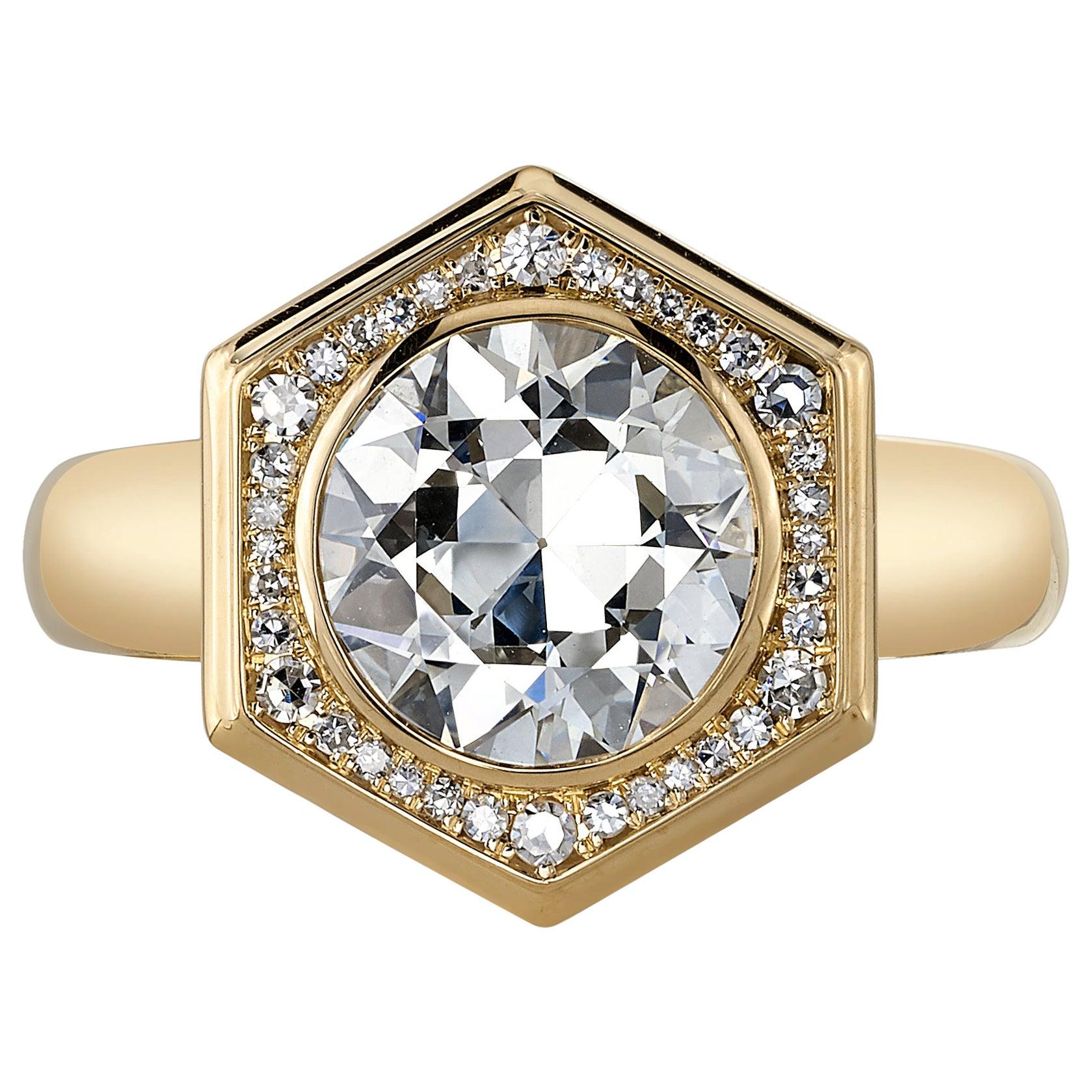 2.08 Carat GIA Certified Old European Cut Diamond Set in an 18 Karat Gold Ring