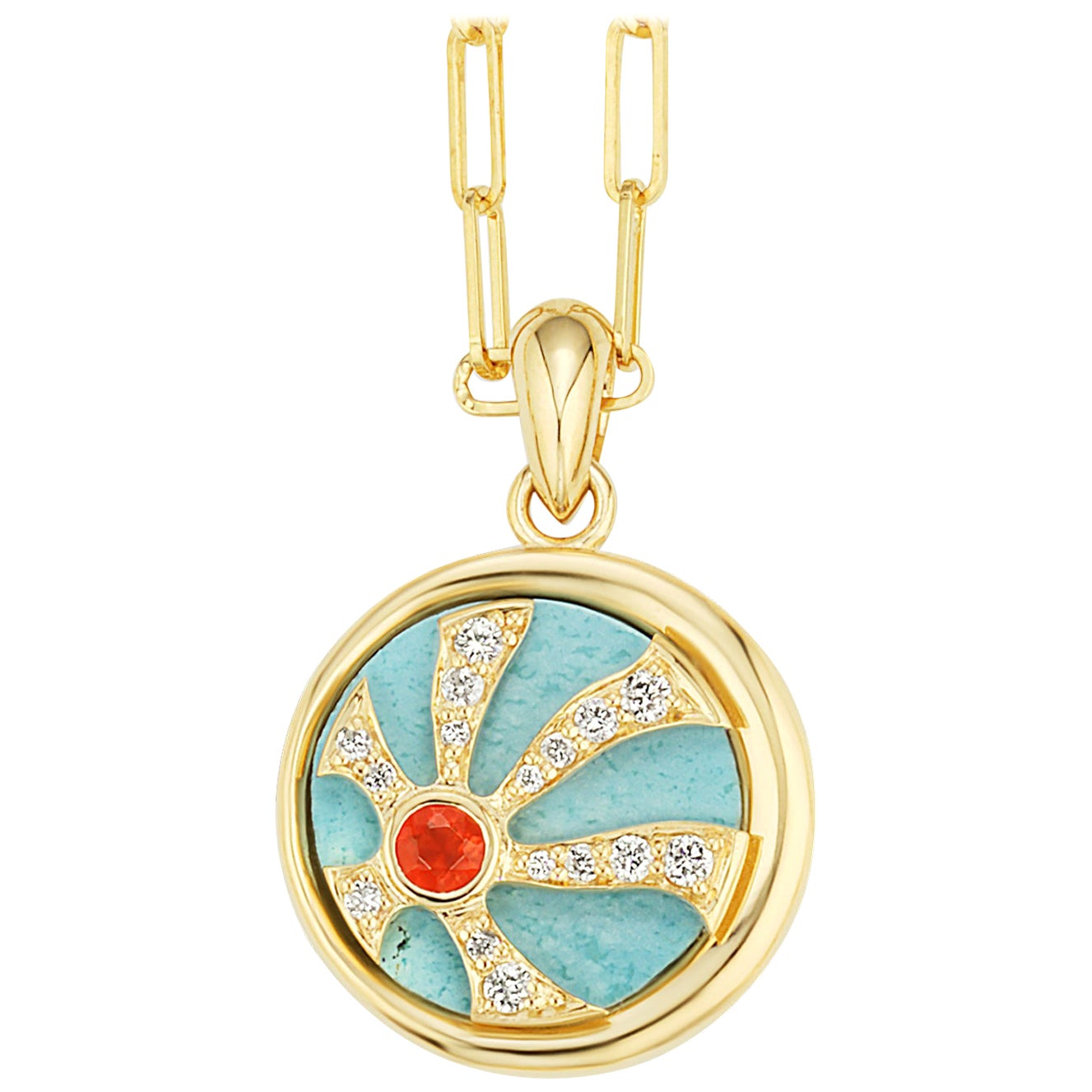AnaKatarina Elements 'Fire' Pendant in 18K Gold, Fire Opal, Turquoise, Diamonds