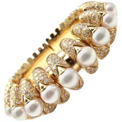 Bulgari Celtaura Diamond Pearl Gold Bangle Bracelet
