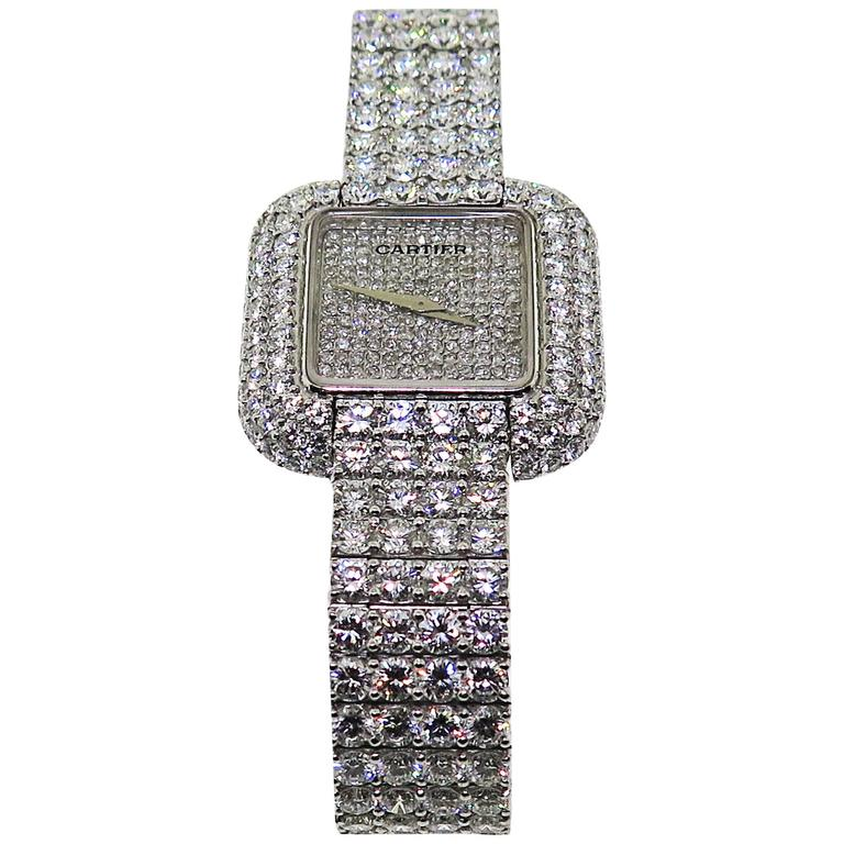 Cartier Ladies White Gold Pave Diamond Wristwatch