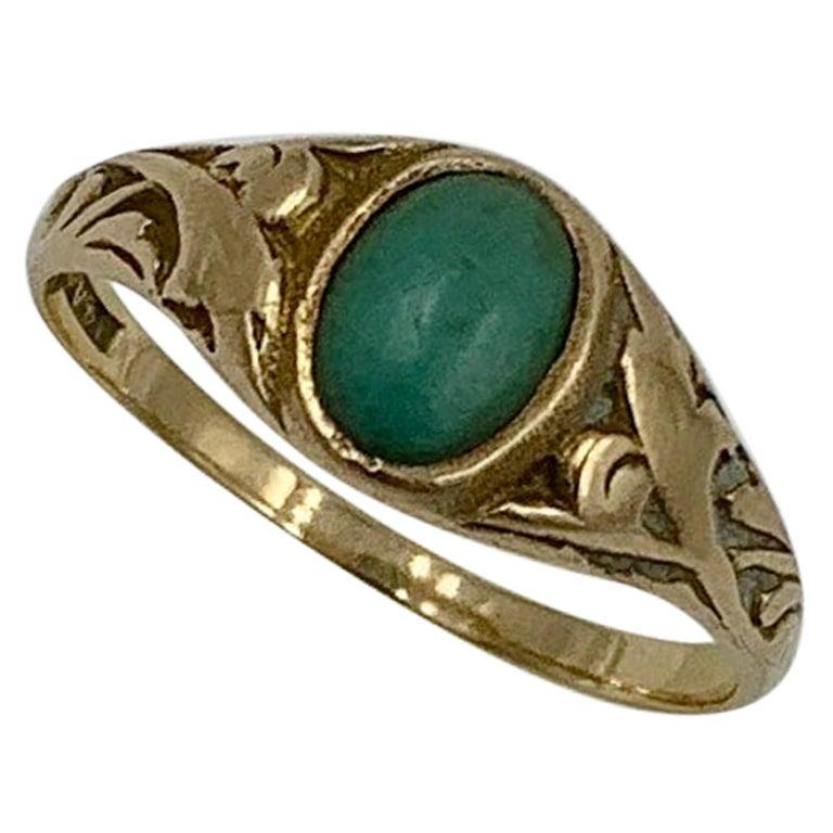 Turquoise Ring Antique Victorian 14 Karat Rose Gold Wedding Engagement Stacking