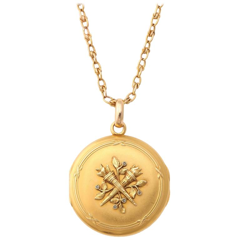 Antique 19th Century French Gold Locket and Chain