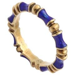 Enamel Gold Bamboo Motif Eternity Band Ring, 20th century