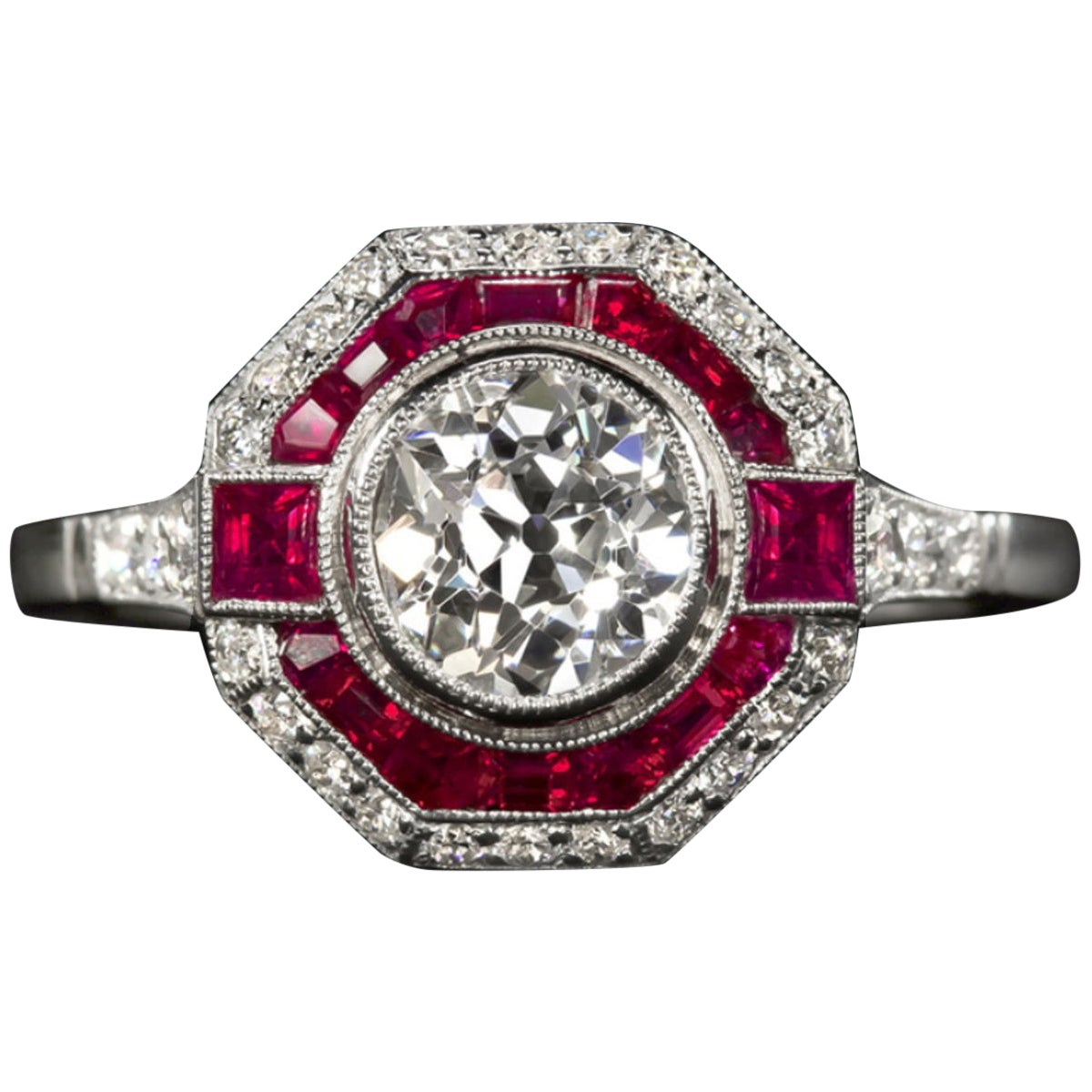 Old Cut Diamond Engagement Ring Ruby Platinum