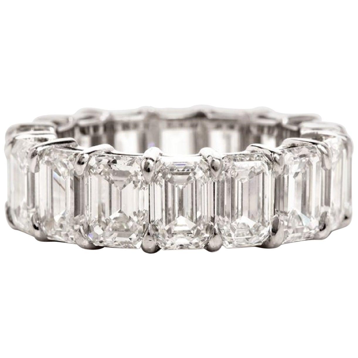 GIA Certified 12 Carat Emerald Cut Diamond Eternity Band Ring Platinum