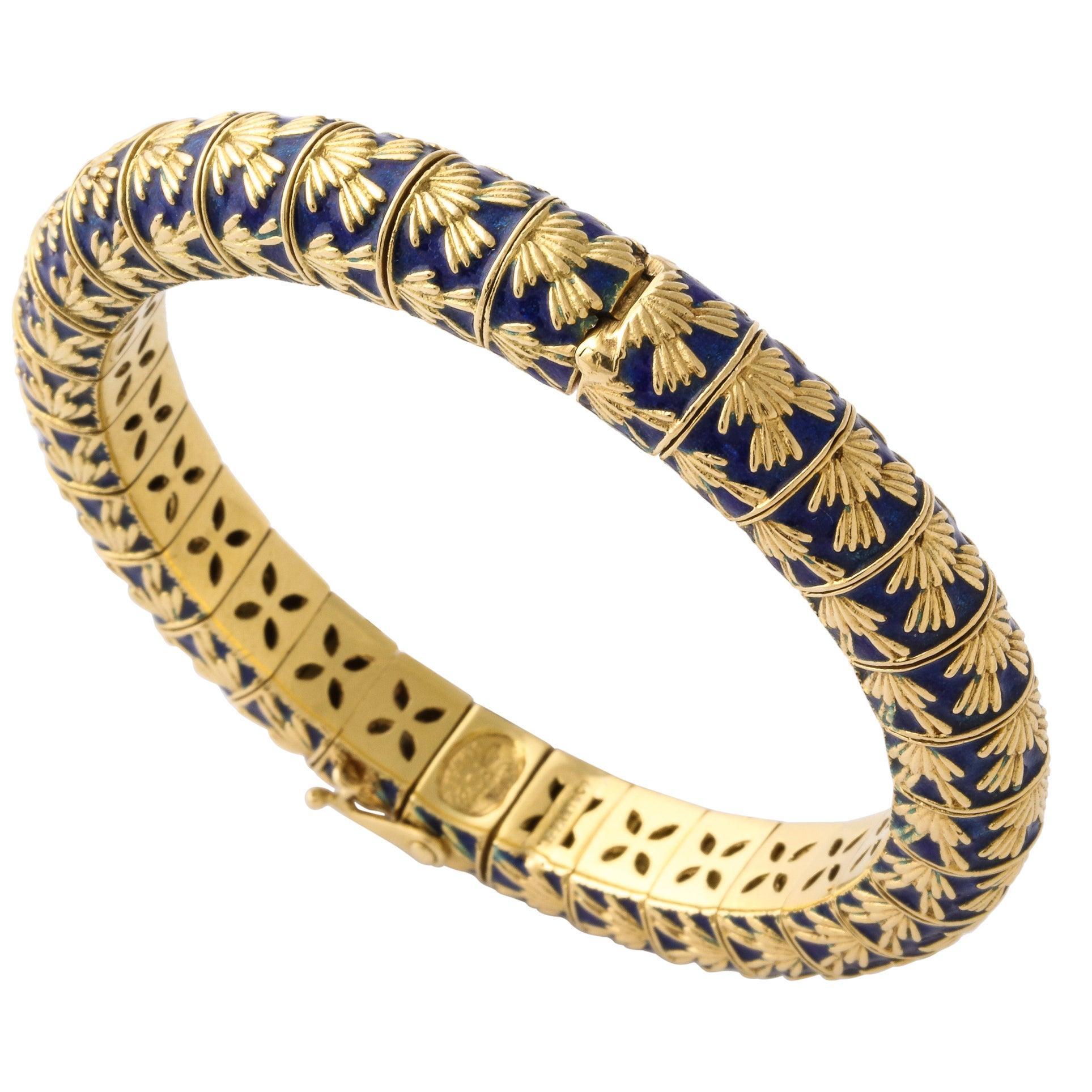 Tiffany & Co. Paris Blue Enamel Gold Bangle Bracelet