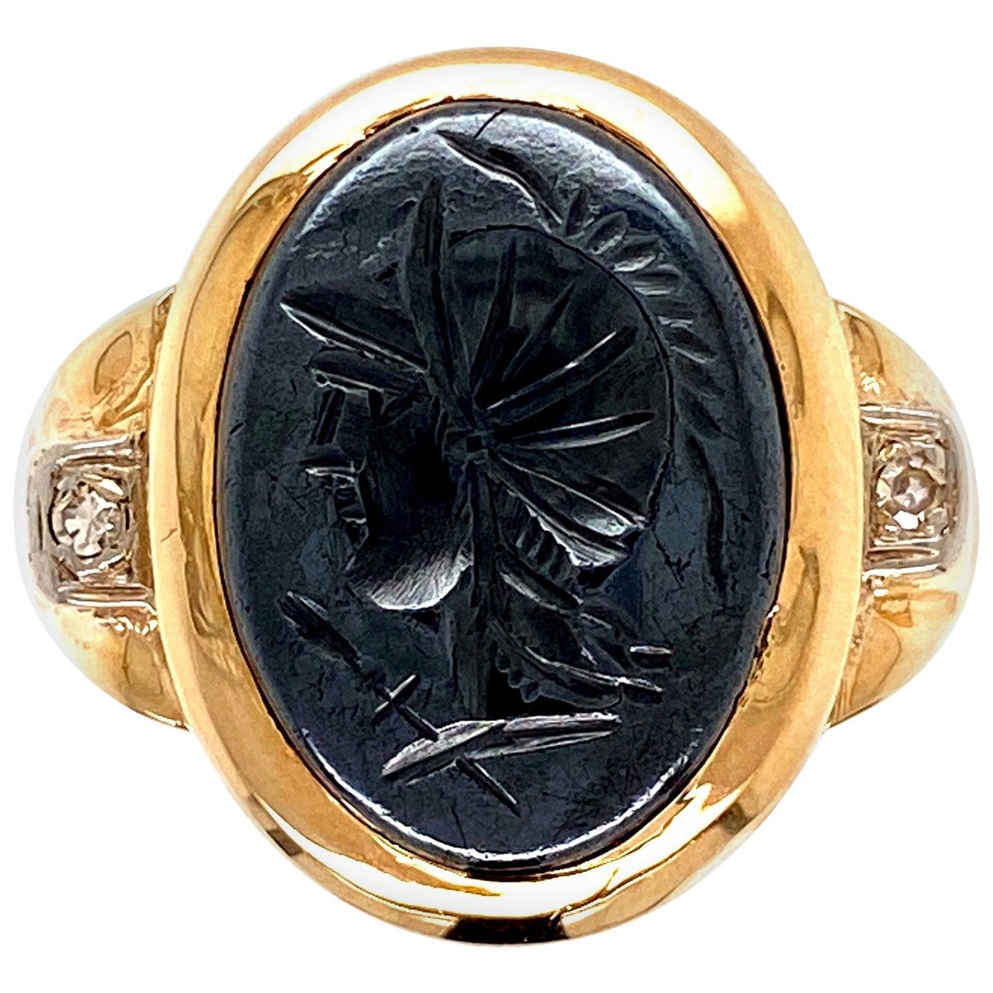 Victorian Hematite Intaglio Portrait Signet Gold Ring Estate Fine Jewelry