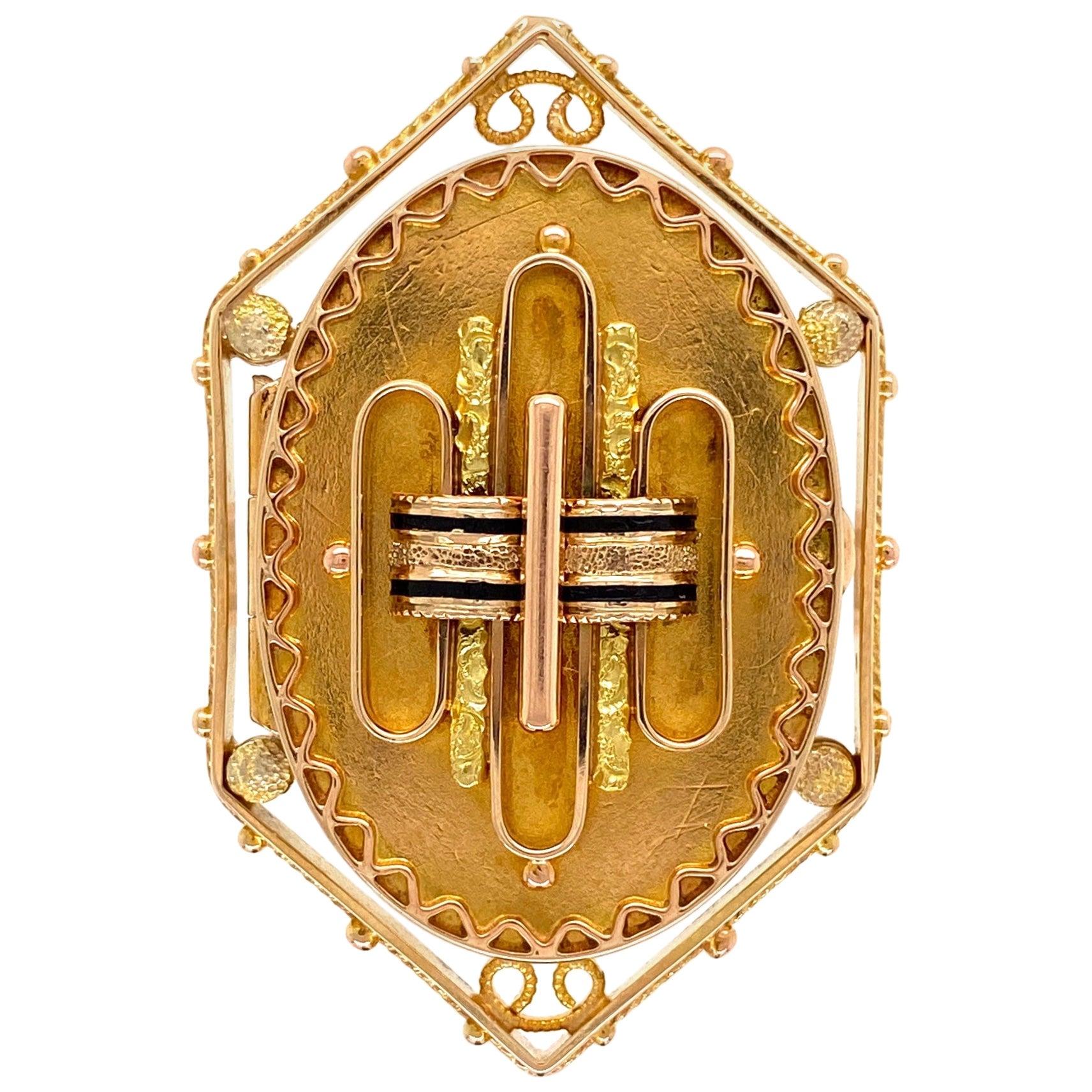 Antique Victorian Enamel Gold Locket Ring Estate Fine Jewelry