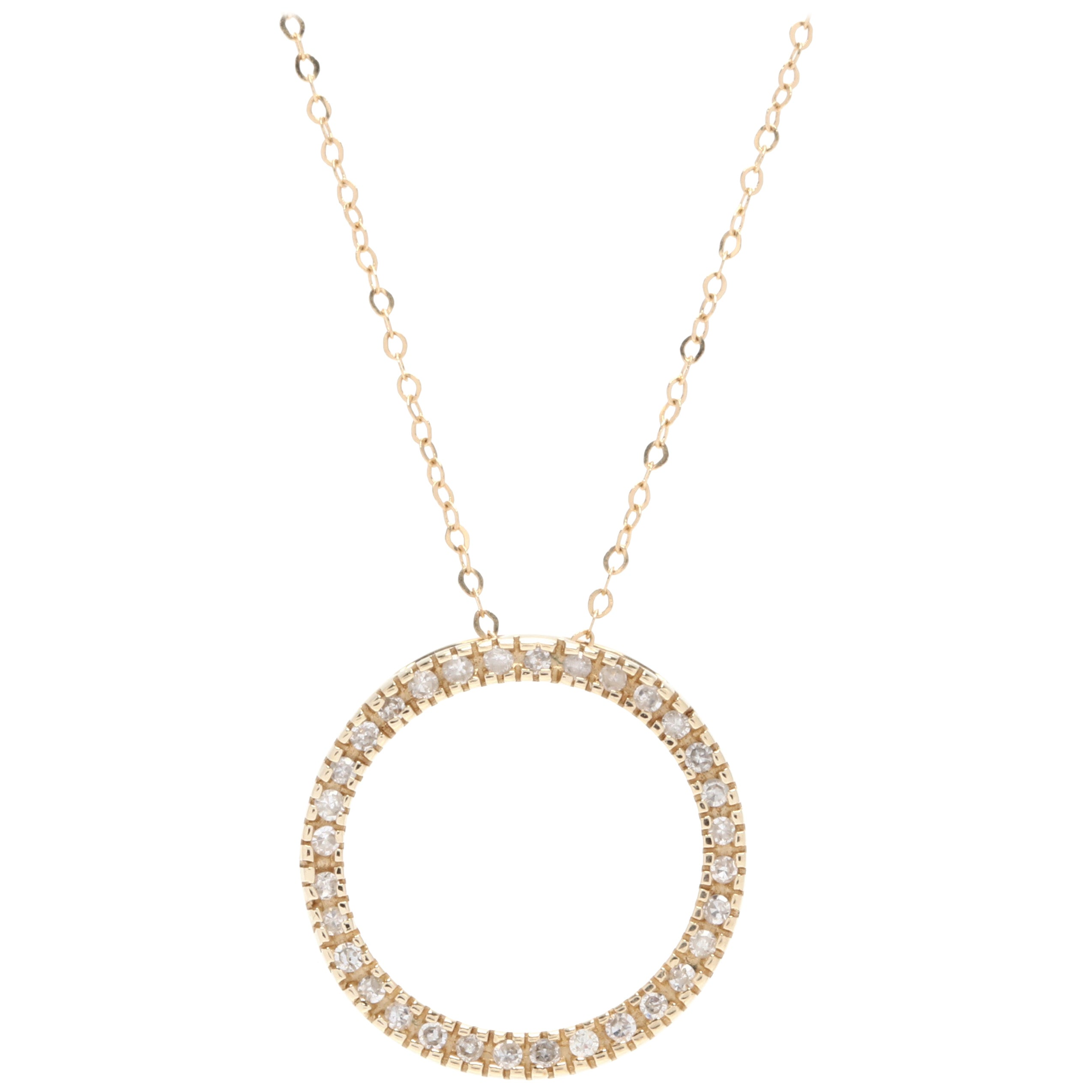 18-14 Karat Yellow Gold Diamond Circle Pendant Necklace