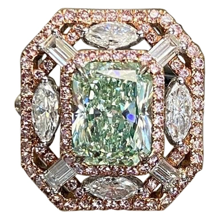 Emilio Jewelry GIA Certified 3.00 Carat Fancy Yellowish Green Diamond Ring