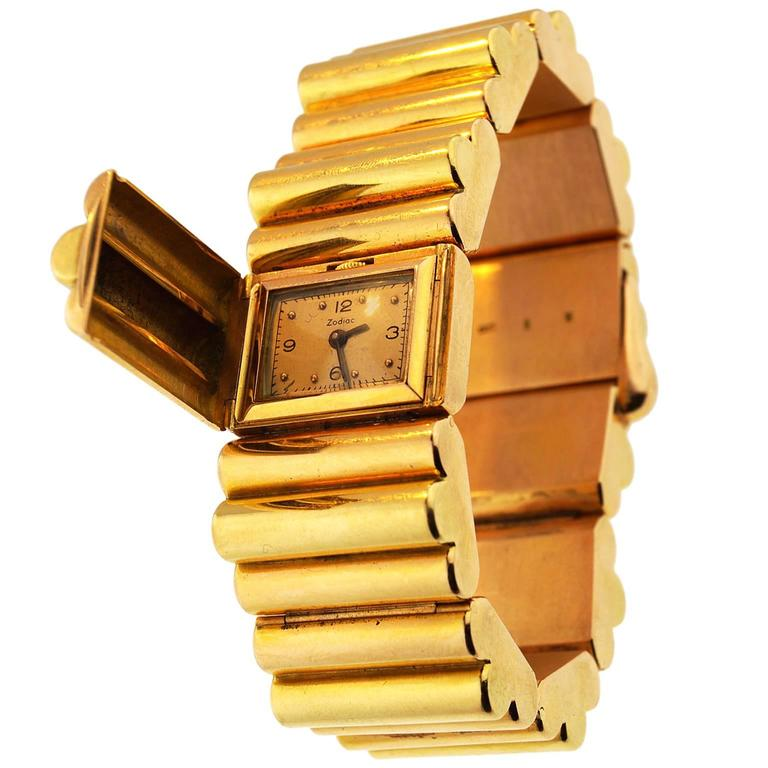Zodiac Yellow Gold Tank Secret Bracelet Wristwatch