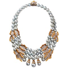 Mario Buccellati Pearl Diamond 18 karat Gold Chocker Necklace