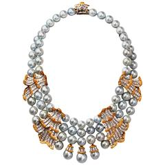 Buccellati Pearl Diamond Gold Necklace