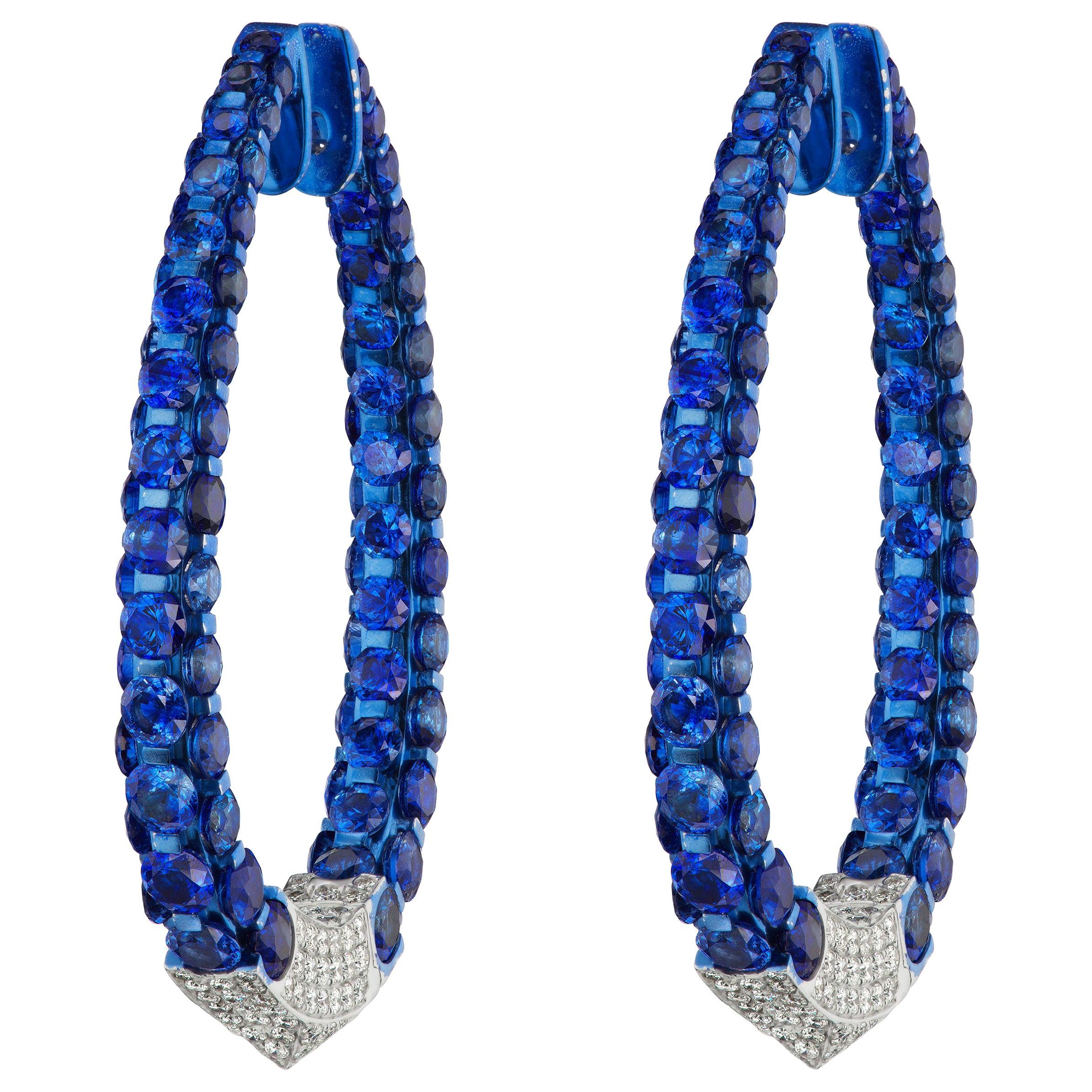 18 Karat White Gold Blue Sapphire and Diamond Hoop Earring