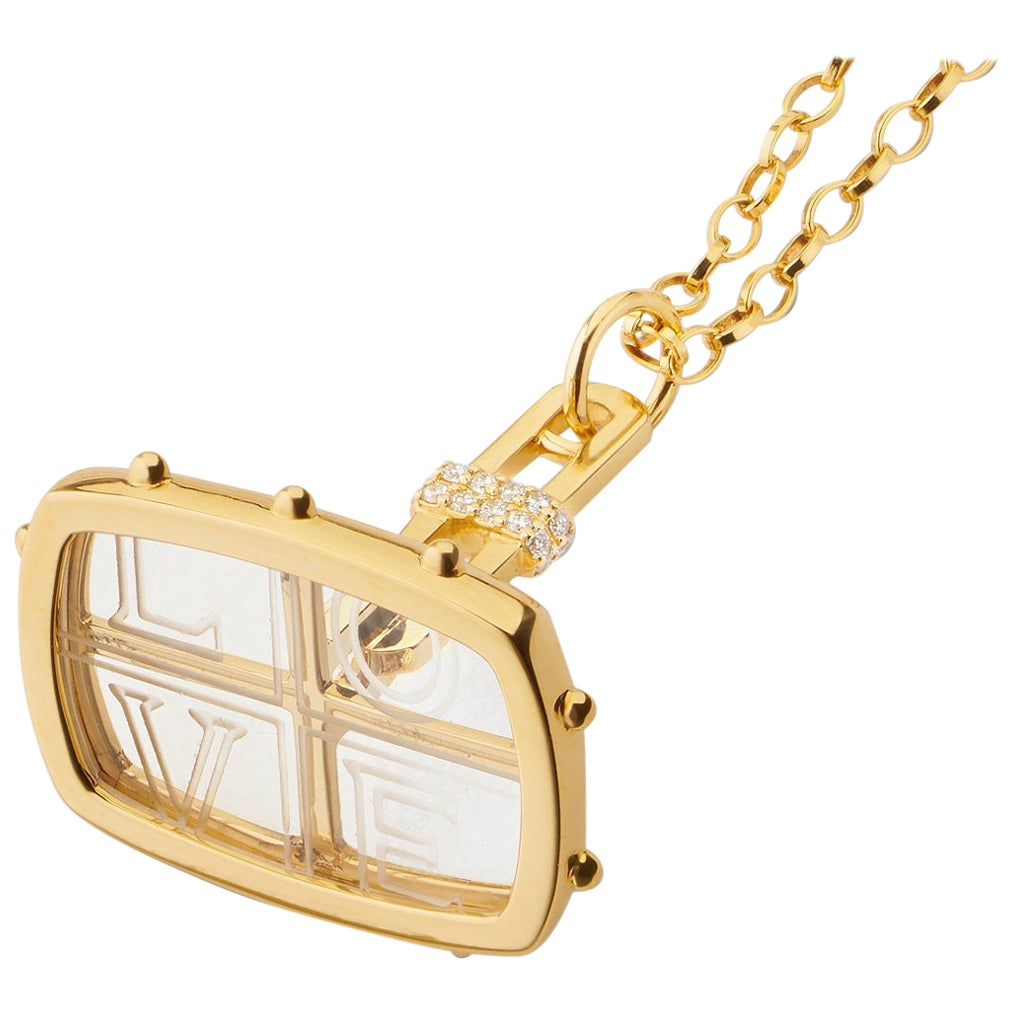 """Monica Rich Kosann 18K Yellow Gold """"Love"""" Fob Charm Necklace with Rock Crystal"""