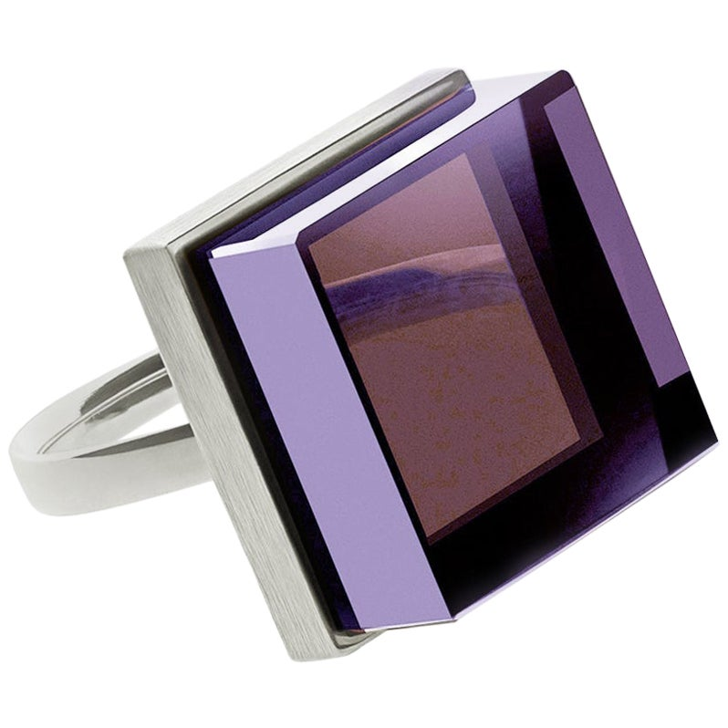 Sterling Silver Art Deco Style Men's Ring with Natural Amethyst