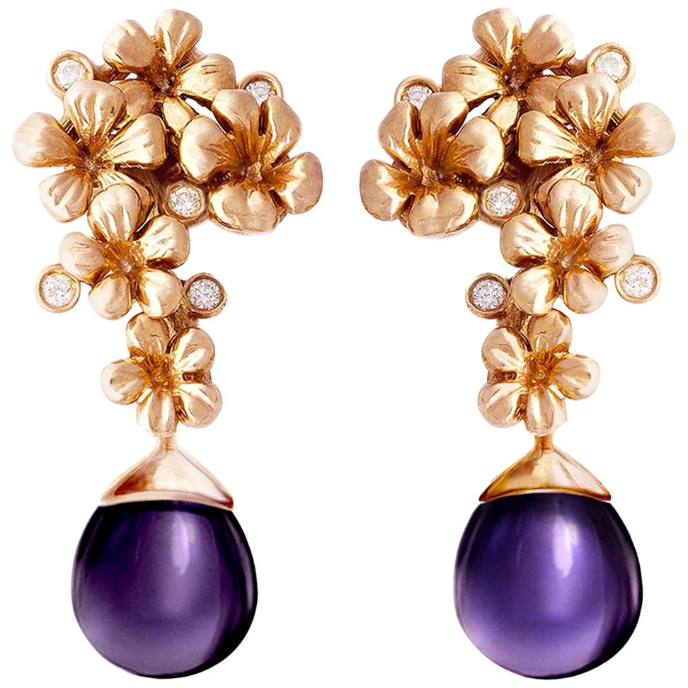 18 Karat Rose Gold Modern Blossom Cocktail Clip-On Earrings with Diamonds
