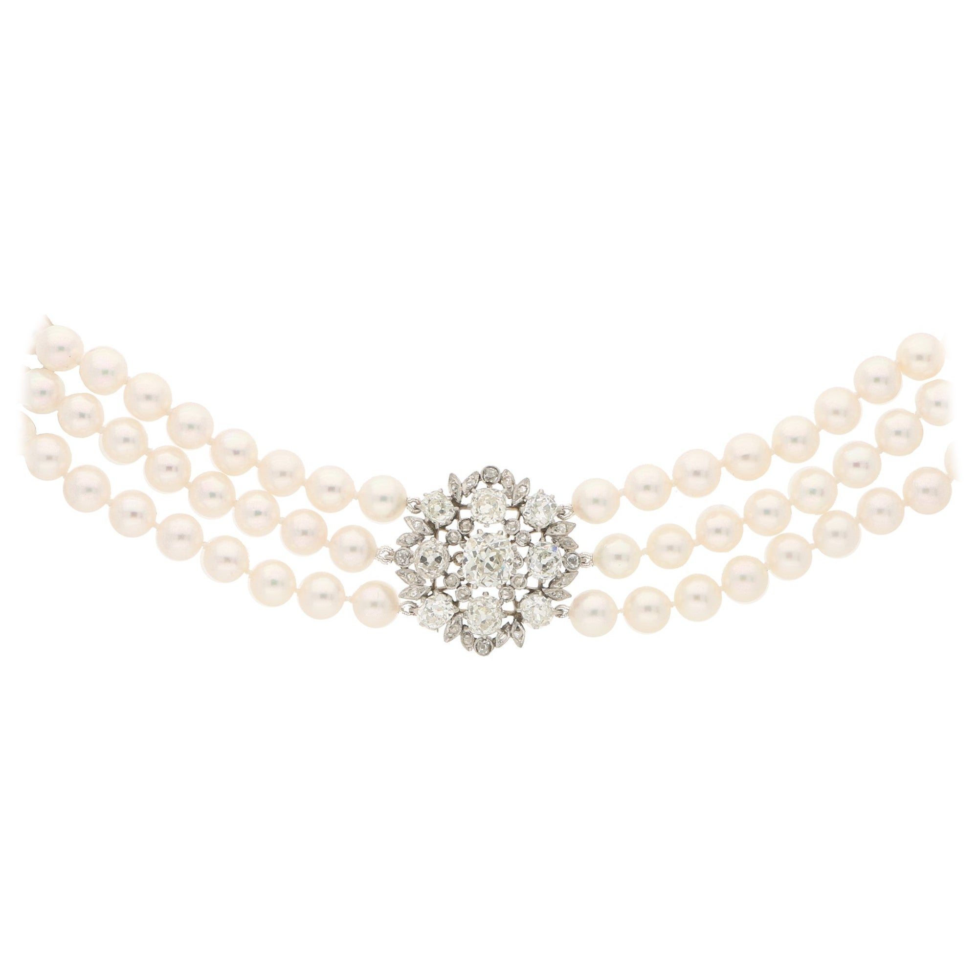 Edwardian Diamond and Cultured Pearl Choker Strand Necklace in Platinum and Gold