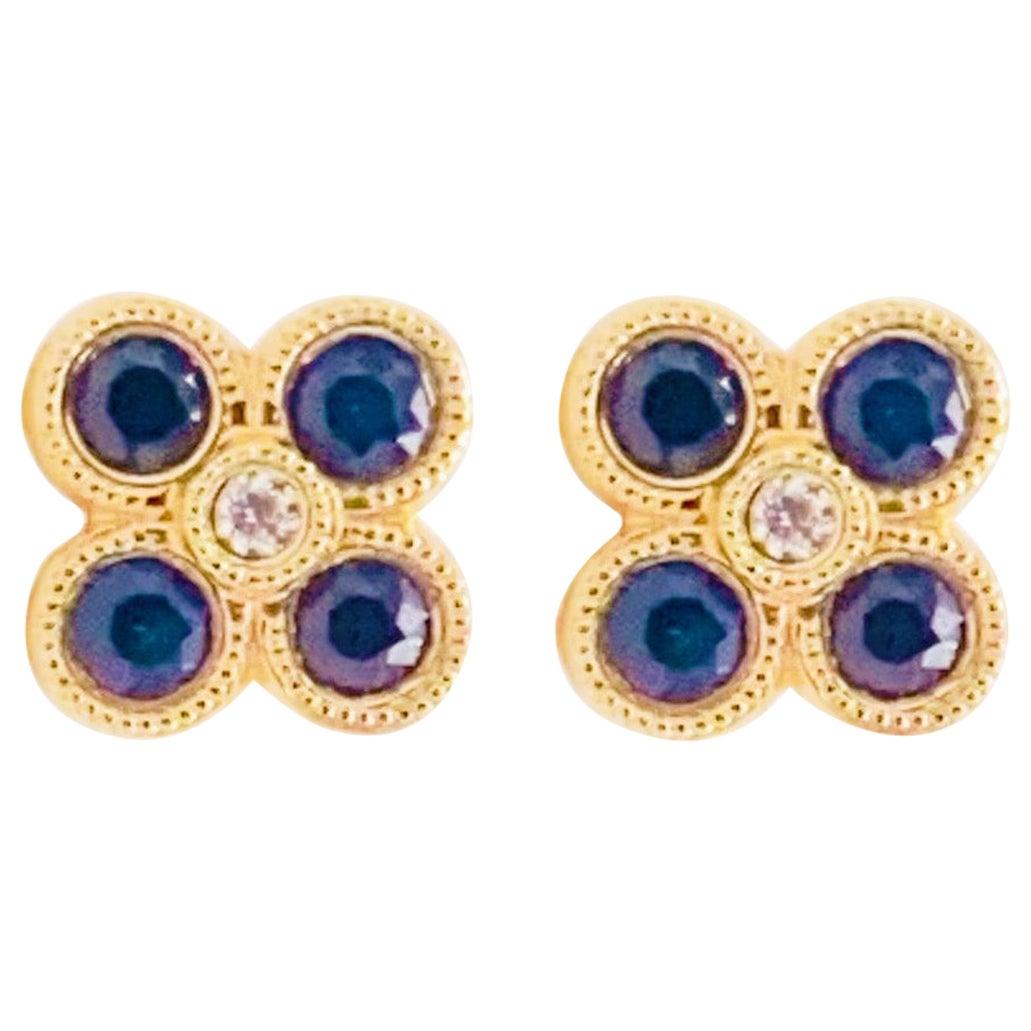 Diamond Sapphire Earrings 14 Karat Yellow Gold Blue Flower Studs Ceylon Sapphire
