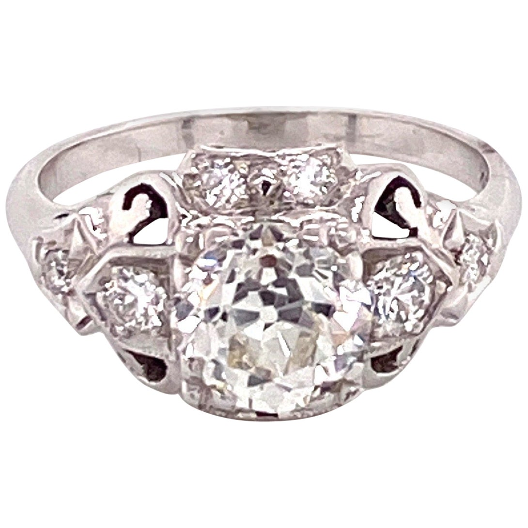Vintage 1950s White Gold 1.20 Carat European Cut Diamond Filigree Ring