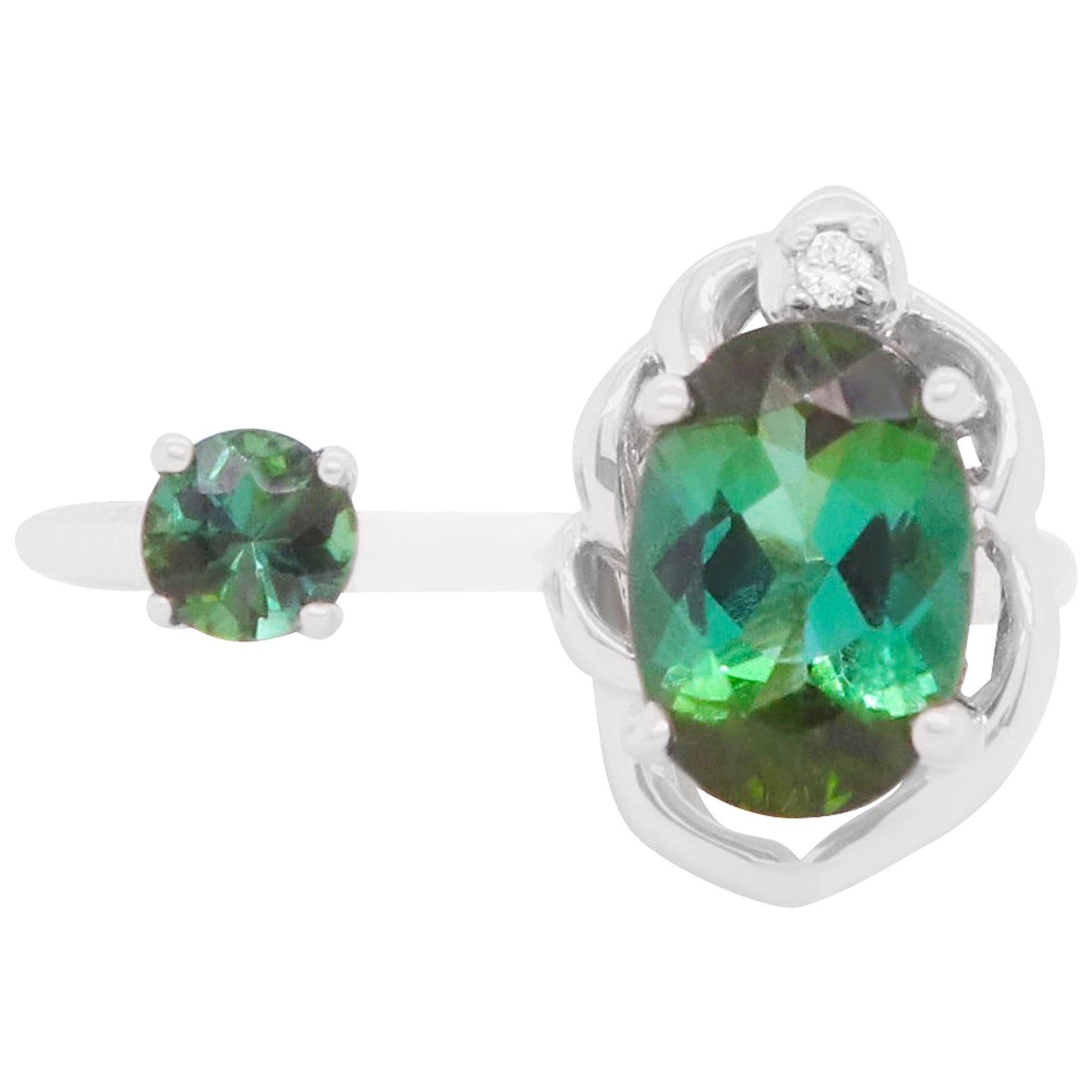 1.16 Ct Oval and Round Green Tourmaline  Diamond Toi-et-Moi Ring 14K White Gold