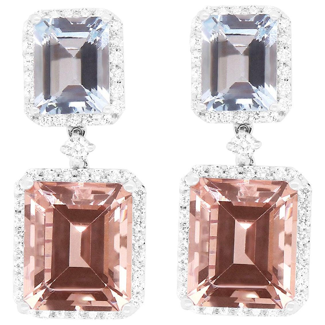12.19 Carat Pink Morganite, Aquamarine and Diamond Earrings