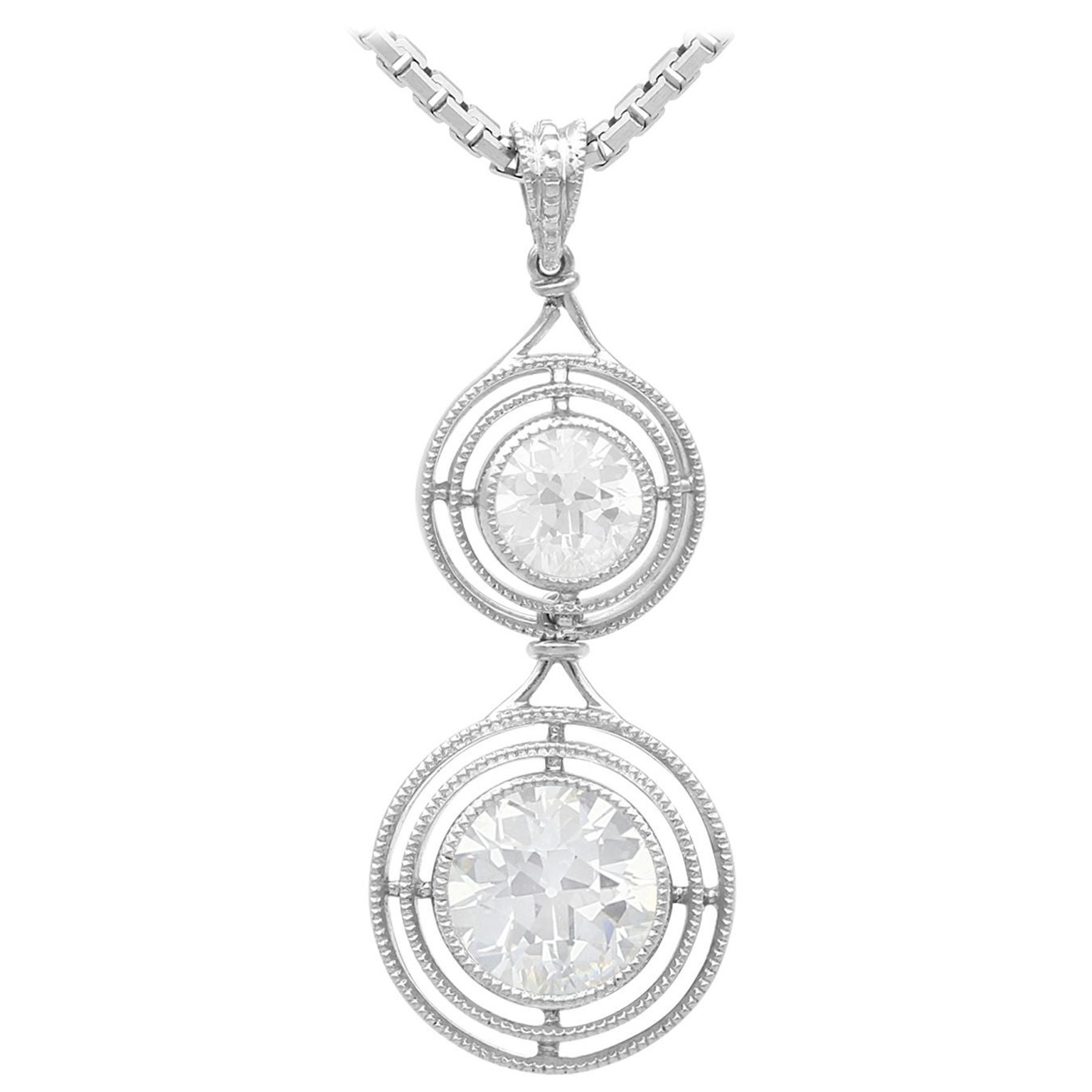 1.42 Carat Diamond and Platinum Drop Pendant Antique Circa 1930