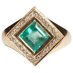 Emerald and Diamond Kite Ring