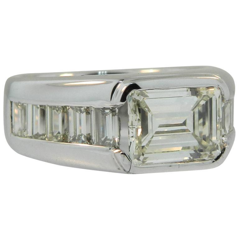 Hartz And Co Emerald Cut Diamond Gold Men S Band Ring At