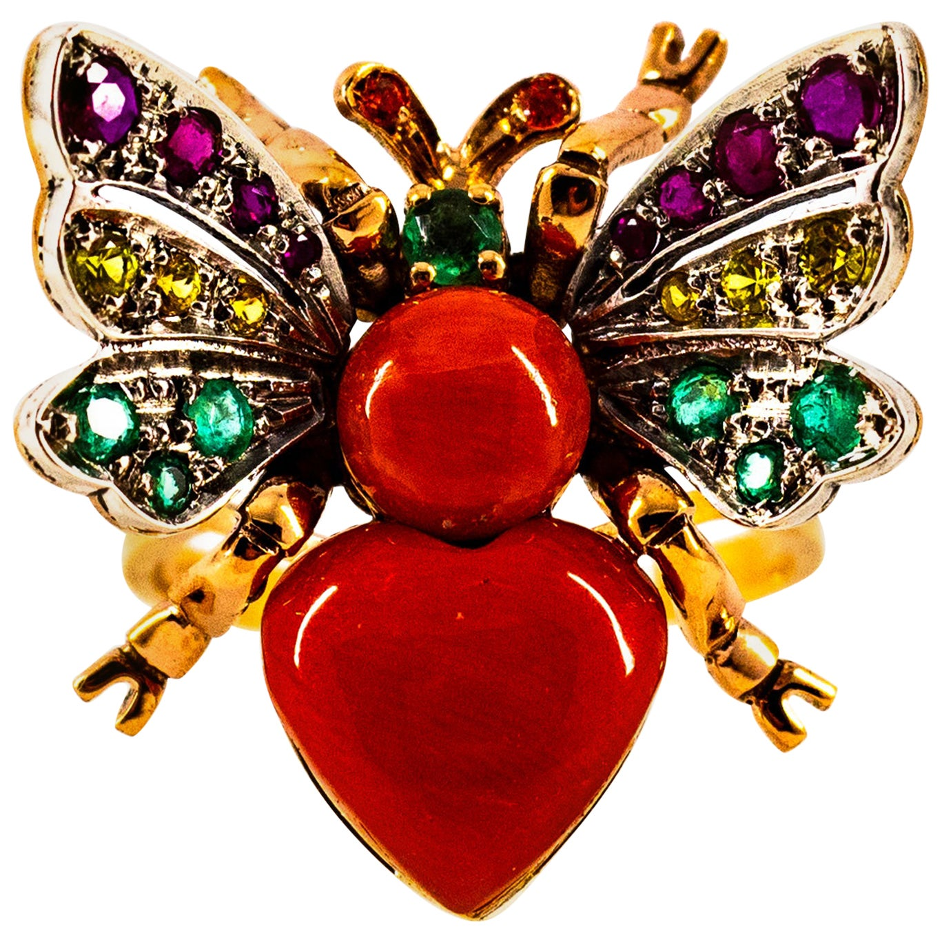 Art Nouveau Style Ruby Emerald Yellow Sapphire Coral Yellow Gold Cocktail Ring